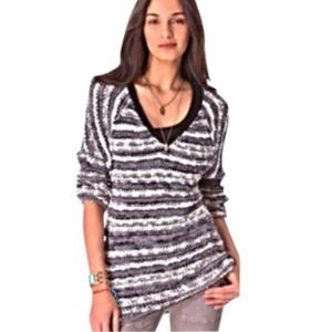 Free People V-Neck Tunic Knit Striped Sweater